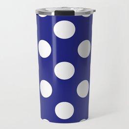 Geometric Candy Dot Circles - White on Navy Blue Travel Mug