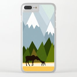 Woodland snowy mountain tops trees and mother moose and baby Clear iPhone Case