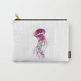 Jellyfish Colorful Purple Watercolor Art Gift Ocean Life Artwork Carry-All Pouch