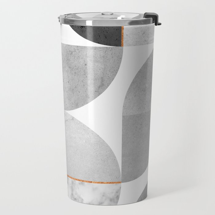 Marble Gray Copper Black and white circles Travel Mug