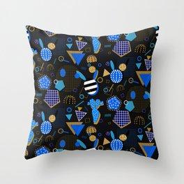 Black Memphis Style Pattern Throw Pillow