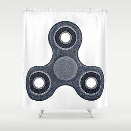 Fidget spinner denim photocollage Shower Curtain
