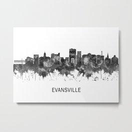 Evansville Indiana Skyline BW Metal Print