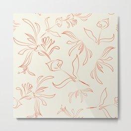 Orange leaves on cream ground Metal Print