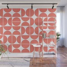 Mid Century Modern Geometric 04 Living Coral Wall Mural