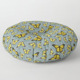 Hand-painted Monarch Butterflies, Oil Painting in Yellow and Grey, Paint Textured Butterfly Pattern  Floor Pillow