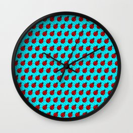 Ladybugs Pattern-Teal Wall Clock