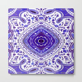 Blue Watercolour Mandala Pattern Metal Print
