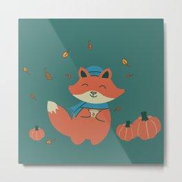 Pumpkin Spiced Fox-ae Metal Print