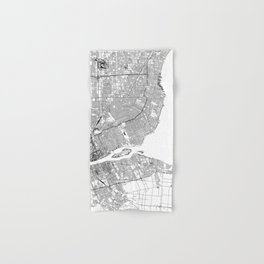 Detroit White Map Hand & Bath Towel