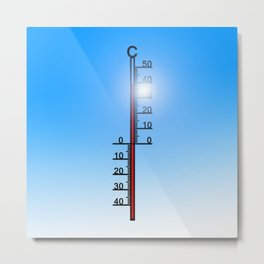 thermometer summer heiss heat sun Metal Print