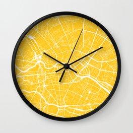 Yellow City Map of Berlin, Germany Wall Clock