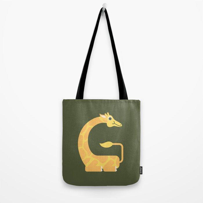Letter G // Animal Alphabet // Giraffe Monogram Tote Bag