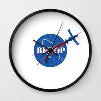 cowboy bebop Wall Clocks featuring Bebop Nasa by AngoldArts