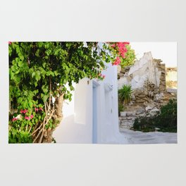 Beautiful Whitewashed Street Mykonos Greece Rug