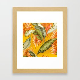 HAWAIIAN GARDEN TROPICAL LEAVES | golden yellow orange Framed Art Print