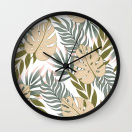 Abstract seamless tropical pattern with bright plants and leaves on a white background. Summer colorful hawaiian seamless pattern with tropical plants. Tropical botanical. Exotic jungle wallpaper. Wall Clock