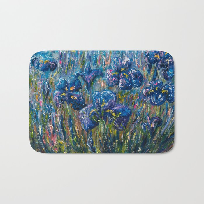 Countryside Irises Oil painting with palette knife Bath Mat
