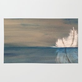 Floating Feather. Original Painting by Jodilynpaintings. Abstract Feather on Water. Rug