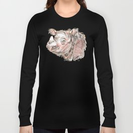 "Harapan ""Harry"" the sumatran rhino Long Sleeve T-shirt"