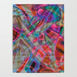 Colorful Abstract Stained Glass G297 Poster