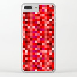 Red Pixel Clear iPhone Case