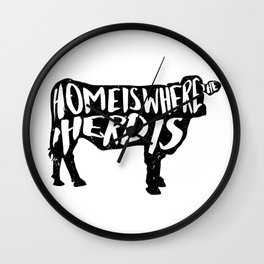 Home Is Where The Herd Is Wall Clock