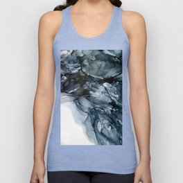 Dark Payne's Grey Flowing Abstract Painting Unisex Tank Top