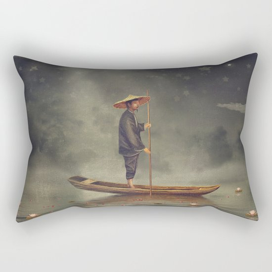 Chinese man  stands in boat  at river Rectangular Pillow