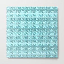 Aqua Greek Key Pattern  Metal Print