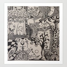 black and doodle 3 Art Print