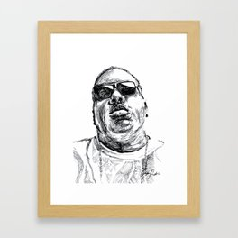 Digital Drawing 33 - Notorious B.I.G. Black and White Framed Art Print