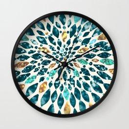 Glitter Dahlia in Gold, Aqua and Ocean Green Wall Clock