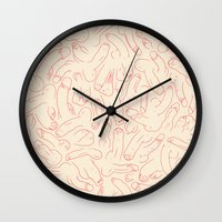 penis Wall Clocks featuring Penis Pattern by Prepuce