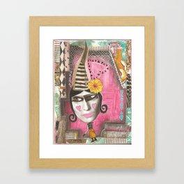 Pink whimsical woman Framed Art Print