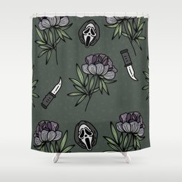 ghostface w knife ~green tones Shower Curtain