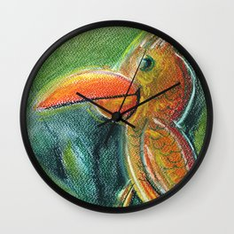 Bird For Children Pastel Chalk Drawing Wall Clock