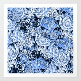 Blue Desert Echeveria Succulent Design Art Print