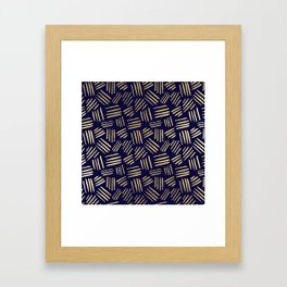Chic navy blue faux gold abstract brushstrokes Framed Art Print