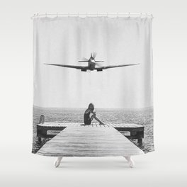 Steady As She Goes; aircraft coming in for an island landing black and white photography- photographs Shower Curtain