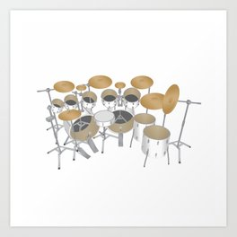 White Drum Kit Art Print