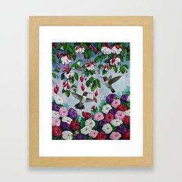 Hummingbirds in Fuchsia Flower Garden Framed Art Print
