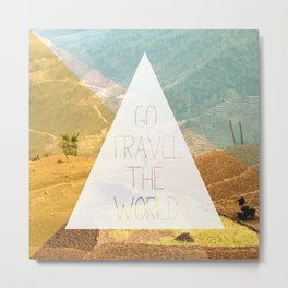 Go travel the world - rice field and geometric typography art Metal Print