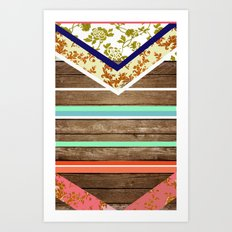 chevron  wood design Art Print