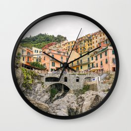 Colorful houses Cinque Terre | Manarola, Italy (Europe) | Colorful Travel Photography Wall Clock