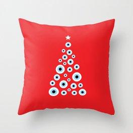 Evil Eye Christmas tree Throw Pillow
