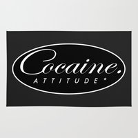 cocaine Area & Throw Rugs featuring Cocaine Attitude by Trash Apparel