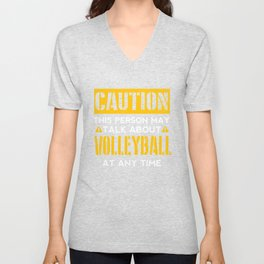 CAUTION - Volleyball Fan Unisex V-Neck