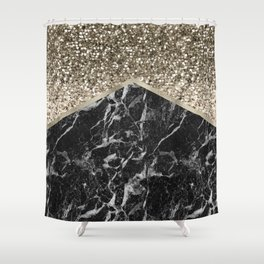 Shimmering golden chevron black marble Shower Curtain
