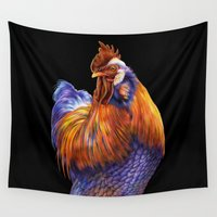 rooster Wall Tapestries featuring Rooster by Tim Jeffs Art